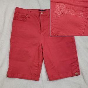 🆕 Amanda Capri Red Dark Pink Bermuda Shorts